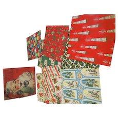 Vintage Christmas 1950s-60s Wrap Wrapping paper Santa box