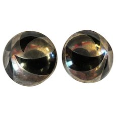 Vintage Mexican Silver & Onyx inlay .925  TC.328 Clip on Earrings