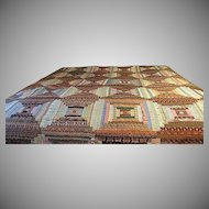 """Vintage 85"""" Log Cabin Quilt wall hanging signed by quilter"""