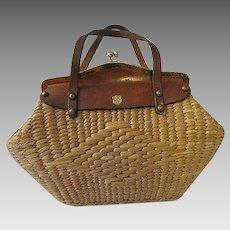 Vintage Rattan Straw Hand Bag w/ leather trim