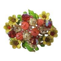 Vintage selini Brooch enamel and stones floral design signed