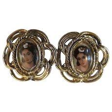 Vintage portrait clip on earrings