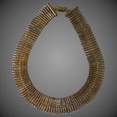 Early Vintage Coro Brass Choker Necklace signed