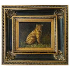 Vintage Original oil painting on Canvas portrait of a Leopard