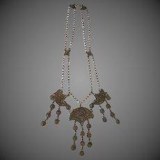 Antique Brass Gypsie Ornate Victorian Necklace