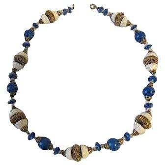 Vintage Blue & White Glass Necklace