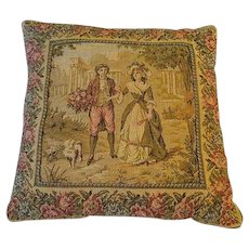 Vintage French country  tapestry Pillow Lovers portrait w Roses