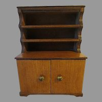 Vintage 1940s 9 inch  hand made wood DOLL Cabinet