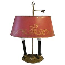 Vintage French Brass Bouillotte-2-Light Lamp-w-Tole-Shade-signed-FRANCE