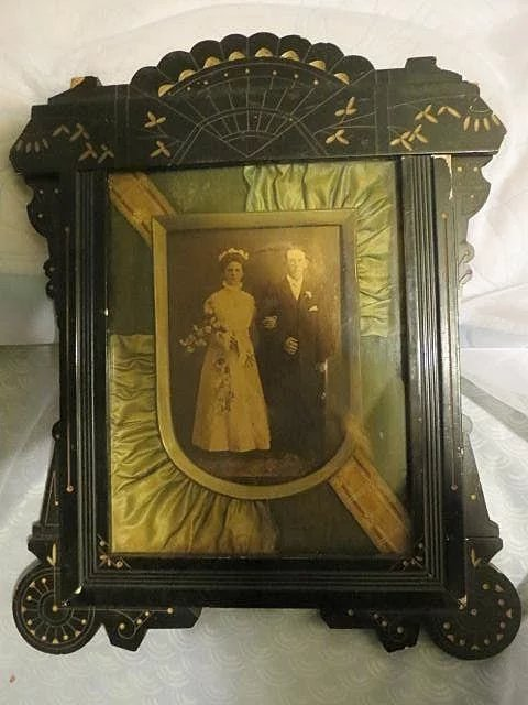 Antique Eastlake Frame W Silk Pleated Matting Victorian