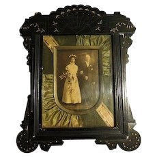 Antique Eastlake Frame w/ silk pleated Matting Victorian Wedding