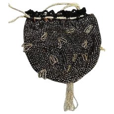 Vintage womens crochet and Glass bead Purse