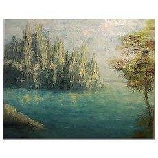 Vintage 1968 Mid century oil on canvas signed beautiful Painting