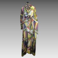 Vintage 1960s summer hostess Gown Shorts set playsuit dress