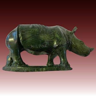 Vintage south African Verdite stone Sculpture signed