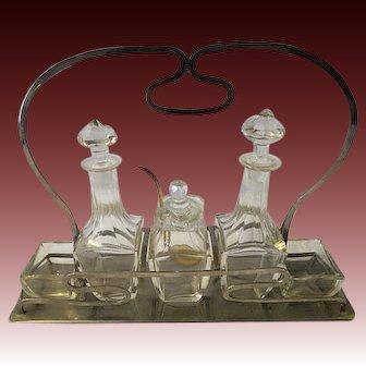 Antique Art Nouveau 19th Century Cut Glass Cruet Set w/ Spoon