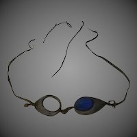 Antique Blue Glass & mesh 1900s race car Glasses Goggles