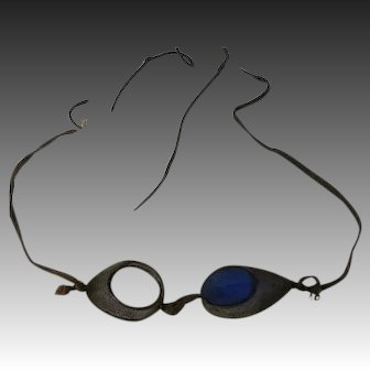 Antique Blue Glass & mesh 1900s race car Glasses Goggles