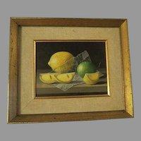 RANDOLPH BROOKS, 20th Century original Oil PAINTING Lemons & Lime
