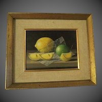 RANDOLPH BROOKS, 20th Century original Oil PAINTING Lemons & Lime
