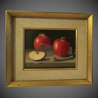 RANDOLPH BROOKS, 20th Century signed Original Oil Painting , APPLES 1971