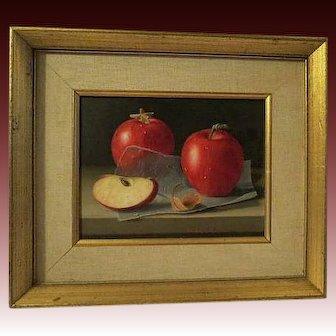 RANDOLPH BROOKS, 20th Century signed Original Oil Painting , APPLES 1971