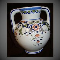 Antique French Faience Quimper Vase Montfleur.fait.Main By