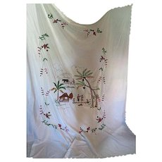 """Vintage Hand embroidered table cloth 94"""""""