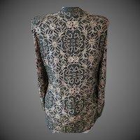 Vintage  Womens Parisian Room VTG Black silk and Gold thread Jacket evening wear