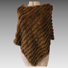 Womens Fur knit Brown Poncho