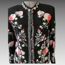 Womens Black  embroidered Jacket w/ Glass Buttons