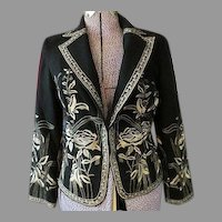 Womens Black Wool and Gold Thread Jacket sz S