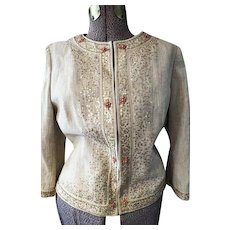 Womens Natural Cotton Gold embroidered Jacket sz 14