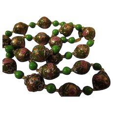 RARE Gorgeous Vintage green Murano Venetian Art Glass Wedding Cake Bead Necklace 24""