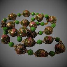 "RARE Gorgeous Vintage green Murano Venetian Art Glass Wedding Cake Bead Necklace 24"""