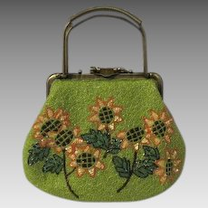 Vintage 1950s sequin and glass beaded daisy Purse
