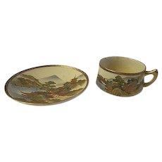 Japanese Satsuma, Gyokuzan 1920s cup & Saucer