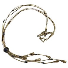 Vintage Liquid Sterling Silver & Lapis native American Necklace