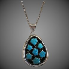 Vintage Navajo American Indian Sterling Silver and turquoise Necklace