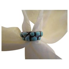 Vintage Sterling Turquoise stone Band RING South west signed ES