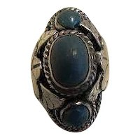 Vintage Mexican Sterling Silver blue Poison Ring; Taxco; CBS Mark Mexico