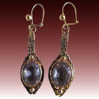 Victorian Antique AMETHYST Earrings 9k yellow Gold