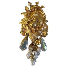 Kirks Folly Crystals and pearls large discontinued BROOCH