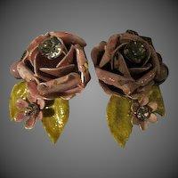 Vintage Original by Robert Pink and Green Enamel Rhinestone Flower Clip Earrings SIGNED ROBERT