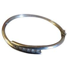 Sterling Silver w Diamonds Womens Bangle Bracelet