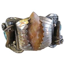 Vintage Old Pawn Native American Navajo Indian sterling silver cuff BRACELET signed R R