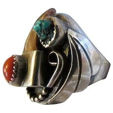 Vintage American Indian Old Pawn Turquoise and silver Mens Ring signed ET Coral,claw, HUGE MENS