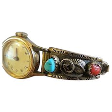 Vintaged signed W.YAZZIE Gold filled Native American watch band