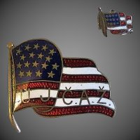 Rare Antique Guilloche enamel pin american Flag u.j c.a.z