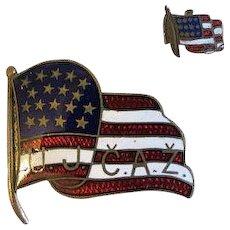 Rare Antique Guilloche enamel pin american Flag u.j c.a.z